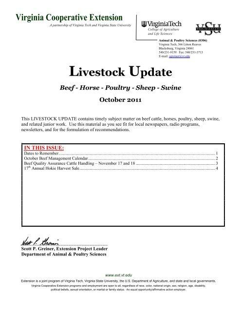 Virginia Tech Calendar.Livestock Update Beef Horse Poultry Sheep Virginia Tech