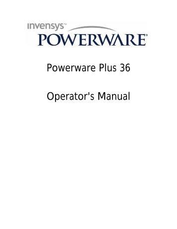 Powerware Plus 36 Operator's Manual