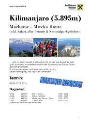 Detailprogramm Berg, Kilimanjaro 2013, fir - Raiffeisen Reisen