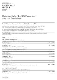 Dauer und Daten des MAS-Programms Alter und ... - Weiterbildung