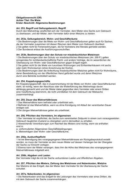 Obligationenrecht Mieterschutz Schweiz