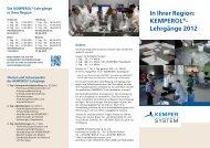 In Ihrer Region: KEMPEROL®- Lehrgänge 2012 - KEMPER SYSTEM