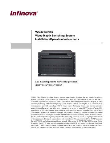 V2040 Series Video Matrix Switching System Installation ... - Infinova