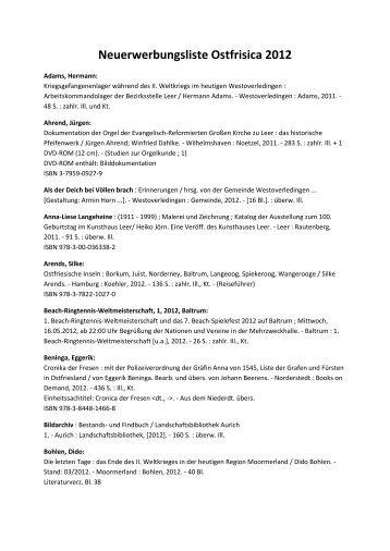 Neuerwerbungsliste Ostfrisica 2012 - Ostfriesische Landschaft
