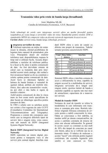 Transmisia video prin retele de banda larga (broadband)