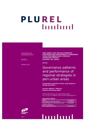 Assessment of European regional governance and ... - Plurel