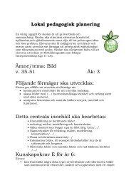 Lokal pedagogisk planering Ämne/tema: Bild v. 35-51 Åk: 3 ...