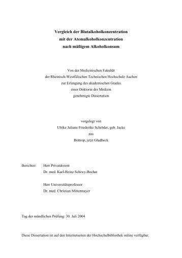 Vergleich der Blutalkoholkonzentration - RWTH Aachen University