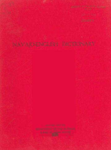 Navajo-English Dictionary - University of Northern Colorado