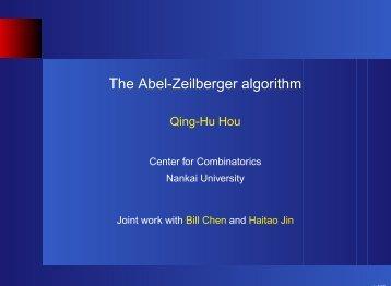 The Abel-Zeilberger algorithm - The Combinatorics Net