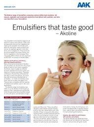 Emulsifiers that taste good - AAK