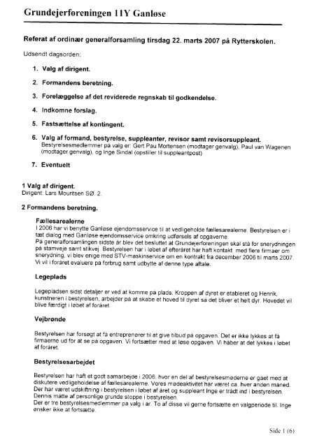 2007 - Grundejerforeningen 11y, Ganløse