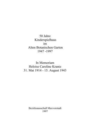 50 Jahre Kinderspielhaus im Alten Botanischen Garten 1947 -1997 ...