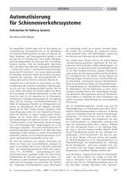 Automatisierung für Schienenverkehrssysteme - (IRT) der RWTH ...
