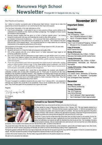Newsletter - November 2011 - Manurewa High School