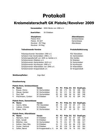 Protokoll Kreismeisterschaft GK Pistole/Revolver 2009 - KSSV-Boerde