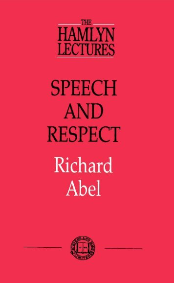 speech and respect - College of Social Sciences and International ...