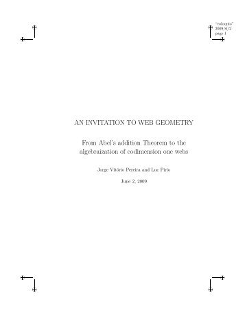 AN INVITATION TO WEB GEOMETRY From Abel's addition ... - IMPA