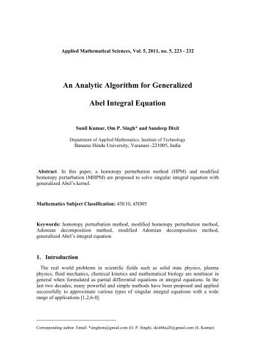 An Analytic Algorithm for Generalized Abel Integral Equation