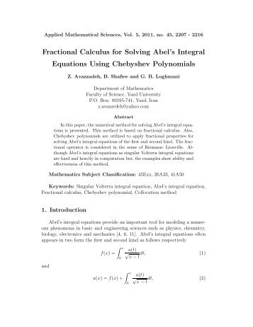 Fractional Calculus for Solving Abel's Integral Equations Using ...