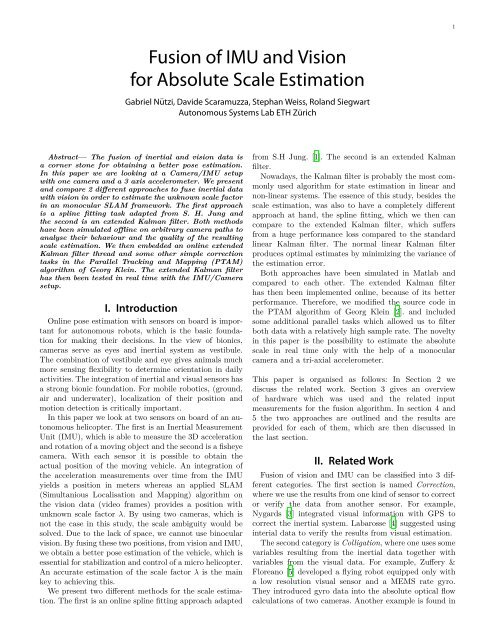 Fusion of IMU and Vision for Absolute Scale Estimation - ETH