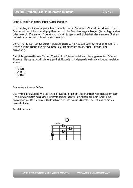 Oh Tannenbaum Akkorde.Online Gitarrenkurs Deine Ersten Akkorde