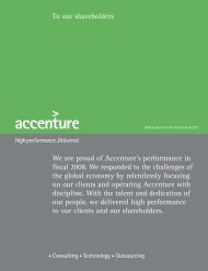 We are proud of Accenture's performance in fiscal 2008. We ...