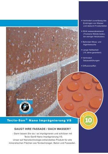 Tecto-San ® Nano Imprägnierung VS - Sanierungs-Systeme