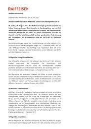 Mediencommuniqué Raiffeisen Zwischenabschluss per 30. Juni ...