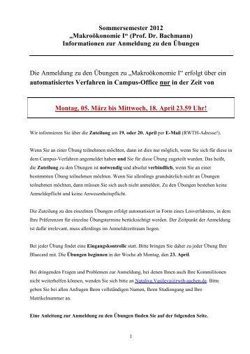 "Sommersemester 2012 ""Makroökonomie I"" (Prof. Dr. Bachmann)"