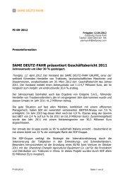 SAME DEUTZ-FAHR präsentiert Geschäftsbericht 2011