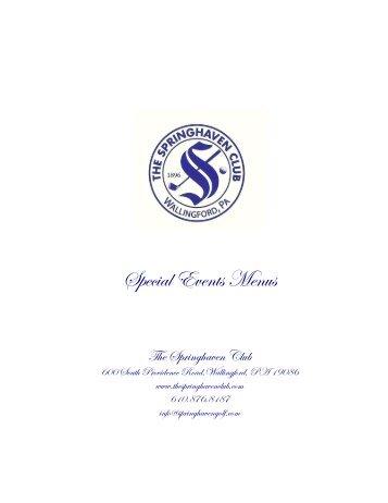 Special Events Menus - Springhaven Club
