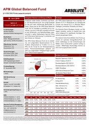 APM Global Balanced Fund - Absolute Portfolio Management GmbH