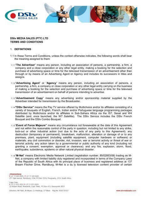 DStv MEDIA SALES (PTY) LTD TERMS AND CONDITIONS 1