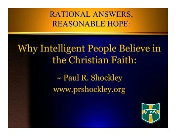 Rational Answers, Reasonable Hope