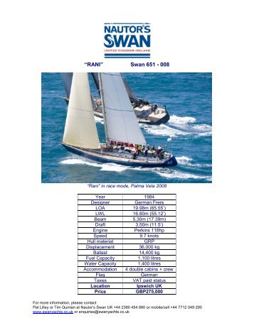 """RANI"" Swan 651 - 008 - NAutor's Swan UK"