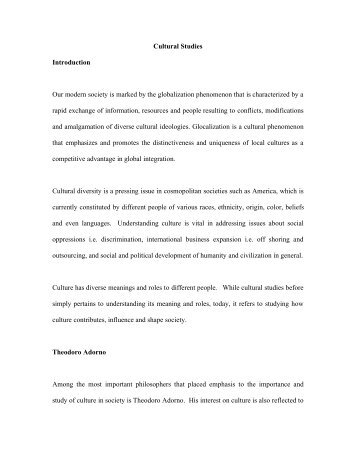 Cultural Studies Introduction Our modern society ... - Absolute Papers