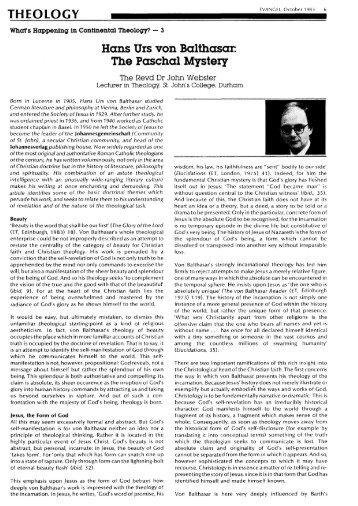 Hans Urs von Balthasar: The Paschal Mystery - TheologicalStudies ...