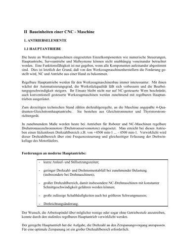 Kapitel II Baueinheiten einer CNC - Maschine