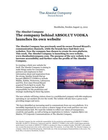 The company behind ABSOLUT VODKA launches its own website