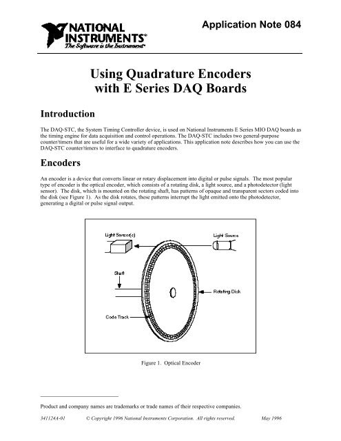 Using Quadrature Encoders with E Series DAQ Boards Introduction