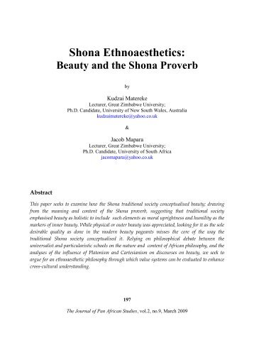 Shona Ethnoaesthetics: Beauty and the Shona Proverb