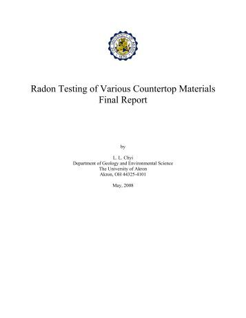 Radon Testing of Various Countertop Materials 2008 - Wpb-radon.com