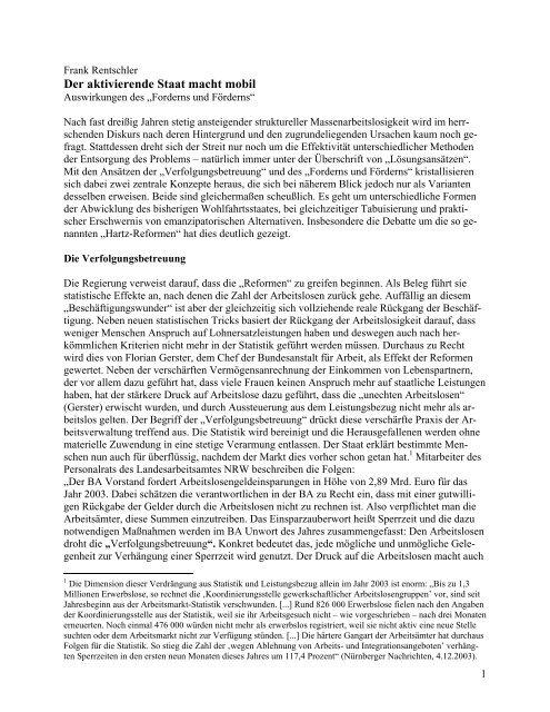 Der aktivierende Staat macht mobil - attac Marburg