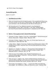 Auswahlbibliographie - Prof. Dr. Franz Segbers