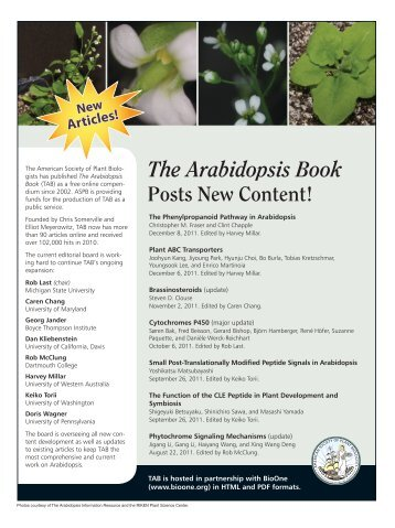 The Arabidopsis Book Posts New Content! - Plant Physiology