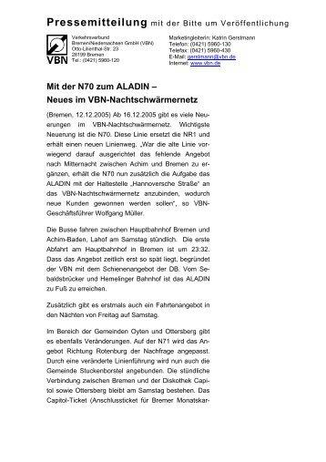 Mit der N70 zum ALADIN – Neues im VBN ... - ZVBN
