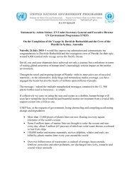 Statement by Achim Steiner, UN Under-Secretary General ... - UNEP