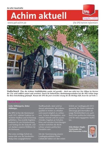 Ausgabe 1/2012 Auf ein Wort - SPD-Ortsverein Achim