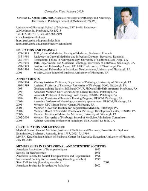 1 Curriculum Vitae (January 2005) Cristian L  Achim, MD, PhD